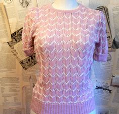 a0caba846145 Depot Vintage Clothing · 1950s Style Knit Pink top by thedepo on Etsy