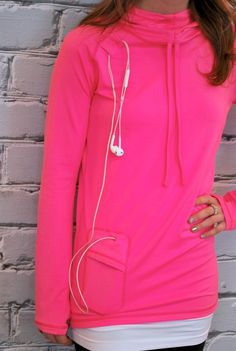 Workout Hoodie with Phone/ipod Pocket - S-XL | Jane