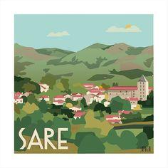 #Sare est à l'honneur de la nouvelle illustration de la collection #paysbasque #yipikaii #yipikaiiillustration #paysage #illustration #vert #green #montage #mountain #campagne #country