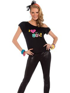 I Love The 80's Shirt | Wholesale 80s Costumes for Women