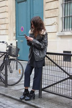 Best selection of Clogs here   Leather jacket similar here or here   Bag  Faustine Paris        JavaScript is currently disabled i...
