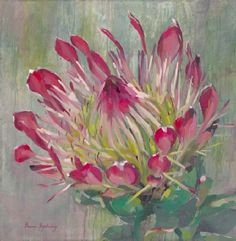 paintings Protea Art, Protea Flower, Acrylic Flowers, Watercolor Flowers, Painting Flowers, Flower Paintings, Oil Paintings, Plant Painting, Painting & Drawing