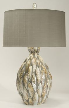 TNL Feather Enigma Table Lamp with Grey Silk Drum Shade