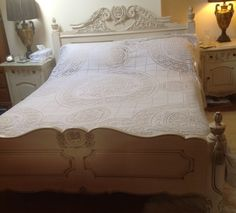 Check out Elegant Vintage French Filet Lace Bedspread with Tassles on the Two Floor  Edges. Ideal for a Shabby Chic Bedroom or Very Large Tablecoth. on fleursenfrance