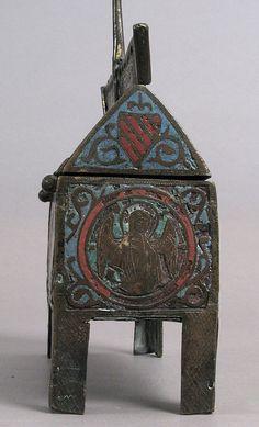 Chasse. 13th century. Limoges. Champlevé enamel, copper-gilt. Met website.x