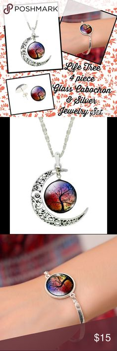 Life Tree 4 piece Glass Cabochon Red & Silver Set Life Tree 4 piece Glass Cabochon Red & Silver Set. Includes matching necklace, bracelet & pair of earrings. Liebe Engel Jewelry