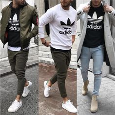Adidas crew neck sweater in three different styles. Shop the look in the link.