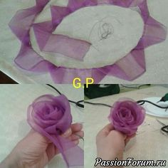 You can easily make this beautiful rose model with a total construction of 60 cm with 2 cm pink chiffon. Diy Ribbon Roses How to diy satin ribbon rose This Pin was discovered by tuğ Ribbon Embroidery Flowers by Hand - Embroidery Patterns silk ribbon Satin Ribbon Roses, Ribbon Art, Ribbon Crafts, Flower Crafts, Fabric Crafts, Diy Crafts, Sewing Crafts, Organza Ribbon, Diy Flower