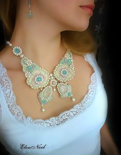 """Necklace, handmade beads.  Fair Masters - handmade Necklace """"On the Wings of Spring.""""  Handmade. $348.00!"""