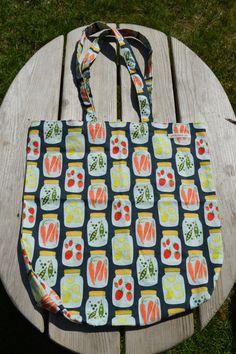 Fruit & veggie jar tote bag! https://www.etsy.com/listing/234253380/reusable-tote-bag-slate-gray-fruit