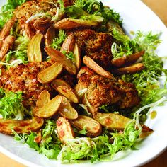  Crispy Mustard Chicken & Frisée  Crispy Mustard Chicken & Frisée - Barefoot Contessa This one-dish dinner has everything I want – tender mustard chicken with a crunchy panko crust, roasted fingerling potatoes, and a cold, crisp frisée salad with plen Barefoot Contessa, Food Network Recipes, Food Processor Recipes, Cooking Recipes, Cooking Games, Cooking Courses, Cooking Fish, Turkey Recipes, Chicken Recipes