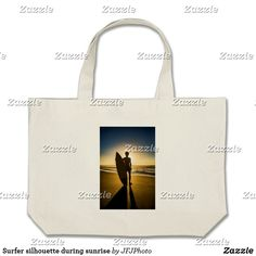 Shop Surfer silhouette during sunrise large tote bag created by JFJPhoto. Beach Tote Bags, Carry On Bag, My Design, Sunrise, Silhouette, Clutches, Hand Luggage, Carry On Luggage, Sunrises