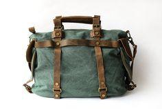 Women vintage retro canvas real genuine leather weekend weekender shoulder bag Duffle Travel tote bag