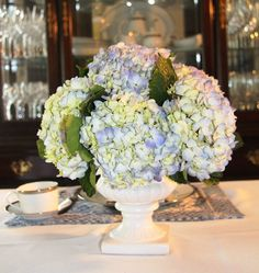 Hydrangea Centerpiece.  Maybe find vintage pots/planters, paint  & use with floral foam for arrangements?