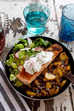 Pan Seared Salmon with Potato Hash | FamilyFreshCooking.com