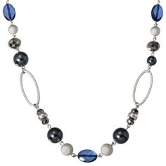 Blue Chain Bead Long Necklace
