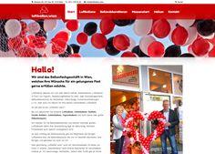 Webdesign für Luftballon.wien Web Design, Web Design Projects, Balloons, Design Web, Website Designs, Site Design