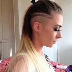 long hair with side undercuts