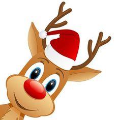 christmas reindeer: reindeer and Santa hat Christmas Stocking Images, Christmas Deer, Christmas Clipart, Christmas Pictures, Christmas Humor, Vintage Christmas, Merry Christmas, Christmas Crafts, Christmas Decorations