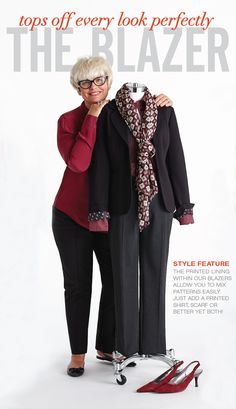 """Cleo Fall Style with Lynn Spence: Style Feature """"The printed lining within our blazers allow you to mix patterns easily. Just add a printed shirt, scarf, or better yet, both! Blazer Fashion, 50 Fashion, Autumn Fashion, Fashion Outfits, Womens Fashion, Mature Women Fashion, Pattern Mixing, Work Wear, New Look"""
