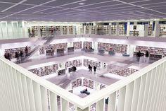 La bibliothèque municipale de Stuttgart, en Allemagne Les 10 plus belles bibliothèques du monde