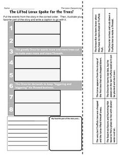 Worksheet Student Worksheet To Accompany The Lorax lorax the ojays and worksheets on pinterest dr seuss sequencing retelling