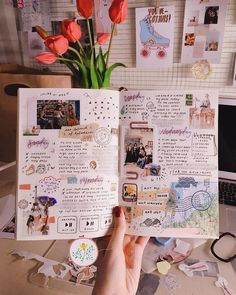 """For Mia Ong ( bullet journaling pulled her out of a productivity slump. """"I had problems catching up with schoolwork,"""" says the… journal Album Journal, Bullet Journal Notebook, Scrapbook Journal, Bullet Journal Ideas Pages, Bullet Journal Inspiration, Photo Journal, Diy Scrapbook, Journal Diary, Notebook Collage"""
