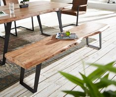 Sitzbank Live-Edge 195x40 Akazie Natur Gestell schräg Baumkante Möbel Stühle…