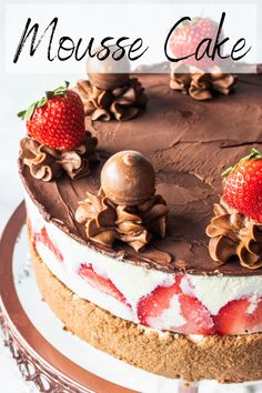 Mousse Cake hazelnut mousse, brownie, white chocolate mousse, strawberries, best combo ever! Lindt Chocolate Truffles, Chocolate Mousse Cake, Chocolate Hazelnut, Nutella Chocolate, Chocolate Recipes, White Chocolate, Nutella Cake, Chocolate Cakes, Homemade Strawberry Cake