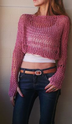pink cropped iLE AiYE grunge cotton sweater