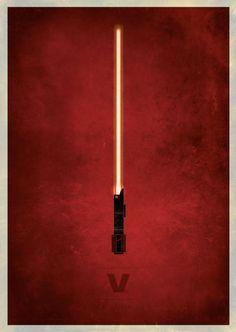 Star Wars Lightsaber Poster tirages Design Minimal par RamzDoodles