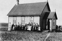 Wood Lake School, Manitoba, 1886 - one-room schools were common throughout the century, with all of the neighborhood children studying together