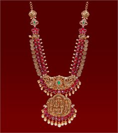Ruby Long Set with Ramparivar Pendant Emerald Jewelry, Gold Jewelry, Beaded Jewelry, India Jewelry, Antique Jewelry, Jewelry Sets, Indian Wedding Jewelry, Bridal Jewelry, Flower Jewelry