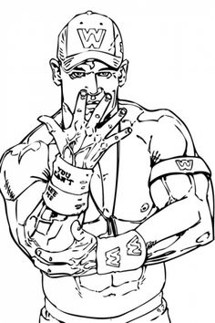 john cena with his face off taunting in wwe coloring page