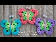 Cómo hacer Crochet Sweet Simply Butterfly - Tutorial DIY Mariposas Mariposa Borboleta - YouTube Crochet Birds, Crochet Butterfly, Crochet Motif, Diy Crochet, Crochet Stitches, Simple Butterfly, Butterfly Shape, Butterfly Pattern, Refrigerator Decoration