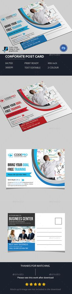 Post Card Design Template - Cards & Invites Print Template PSD. Download herehttps://graphicriver.net/item/post-card/19106777?ref=yinkira