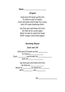 Jack and Jill Missing words revolting rhyme. Rhyming Activities, Activities For Kids, Roald Dahl Revolting Rhymes, Jack And Jill, New Words, Teaching Resources, Worksheets, School, Ideas