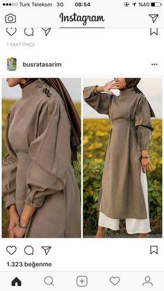 Natural fabric dress, brown, girly, puffy sleeves , - Home Decor Abaya Fashion, Muslim Fashion, Modest Fashion, Fashion Outfits, Modest Wear, Modest Dresses, Modest Outfits, Hijab Dress, Hijab Outfit