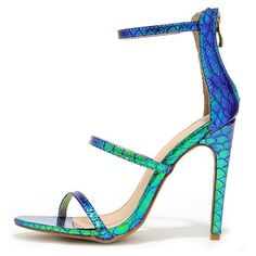 Three Love Green Hologram Dress Sandals (£22) ❤ liked on Polyvore featuring shoes, sandals, green, strappy high heel sandals, peep toe sandals, green shoes, snakeskin shoes and snakeskin sandals