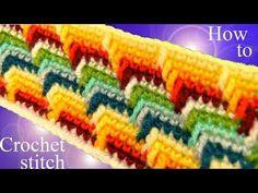 Como tejer punto maravilloso arcoíris a Crochet en rectángulo para mantas cobijas colchas - YouTube