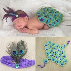 Peacock Style Baby Photography Props Costume Outfit Newborn Toddler Cape with Feather Headband Crochet Animal Set