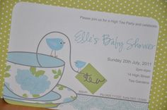 High Tea Baby Shower Invitations & cake toppers