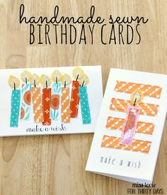 Adorable Handmade Sewn Birthday Cards tutorial from Miss Lovie for Thirty Handmade Days. Fabric Cards, Fabric Postcards, Paper Cards, Diy Cards, Scrapbooking, Scrapbook Paper Crafts, Scrapbook Cards, Happy Birthday, Birthday Cards