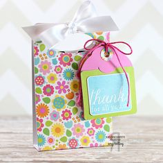 Treat tote by Amy Kolling. Reverse Confetti stamp set: Folded Tag Sentiments. Confetti Cuts: Folded Tag and Sweet Treat Tent. Thank you gift. Teacher Appreciation gift.