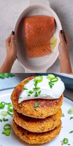 EASY SALMON PATTIES This salmon recipe will be one of your favorite lunch or dinner meal. They are easy to make, tasty and full of flavor. So crispy on the outside and yet so flaky and tasty on the inside. Perfect for appetizers, burgers or sliders. Salmon Recipes, Fish Recipes, Seafood Recipes, Cooking Recipes, Healthy Recipes, Drink Recipes, Microwave Recipes, Healthy Appetizers, Tasty Videos
