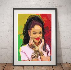 Rihanna print portrait Rihanna Pop Art poster Rihanna