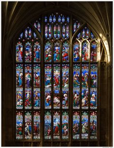 The West Window with Scenes From the Life of Christ, 1420 Tracery and Victorian Glass by William Wailes; Gloucester Cathedral, England; photo by Branislav L. Slantchev