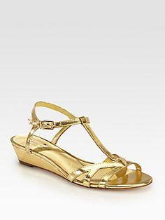 Kate Spade New York Violet Metallic Leather Wedge Sandals