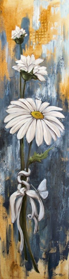 Daisy flower painting with texture. Daisy Painting, Tole Painting, Painting & Drawing, Texture Painting, Painting Flowers, Arte Pallet, Pallet Art, Pictures To Paint, Painting Inspiration