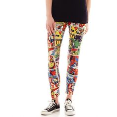 Marvel Comic Strip Leggings found on Polyvore featuring polyvore, fashion, clothing, pants, leggings, cartoon leggings, white pants, cartoon pants, comic print leggings and comic book